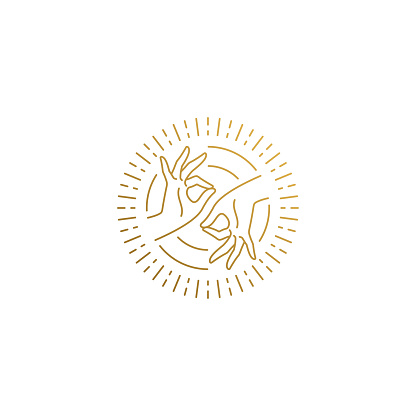 Vector logo of female hands doing Gyan Mudra in circle hand drawn with thin lines
