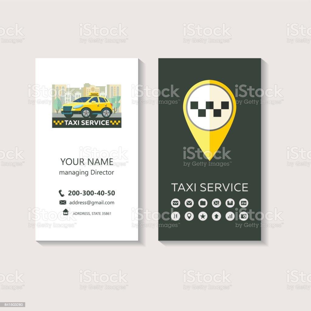 Vektorlogo Von Der Taxiservice Unternehmensidentität Visitenkarte  Taxiservice Set Von Icons Für Mobile App Stock Vektor Art und mehr Bilder  von Auto