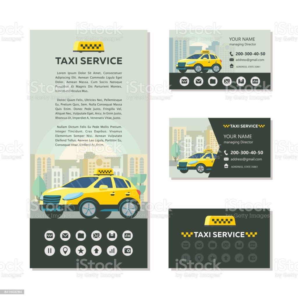 Logo Vectoriel Du Service Taxi Identit Visuelle Carte De Visite Flyer