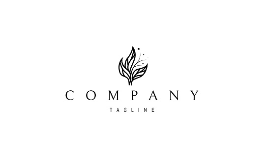 Vector logo on which an abstract image of a beautiful bouquet of leaves.