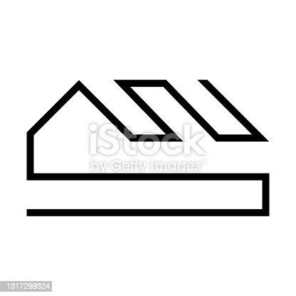 istock Vector logo on which an abstract image of a house with a roof in the form of a continuous line. 1317299324