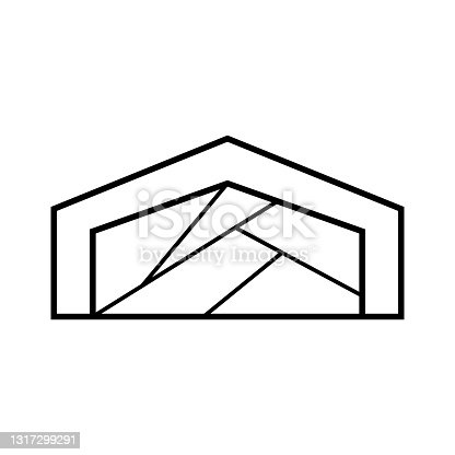 istock Vector logo on which an abstract image of a house with irregularly shaped windows. 1317299291