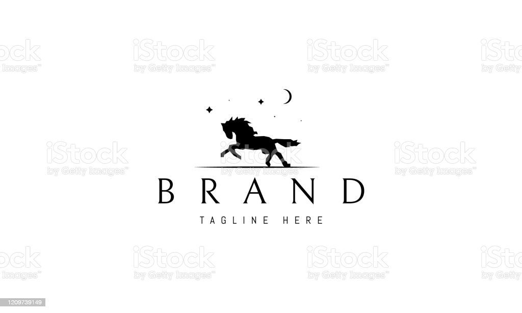Vector Logo On Which An Abstract Image Of A Running Horse Under The Moon And Stars Stock Illustration Download Image Now Istock