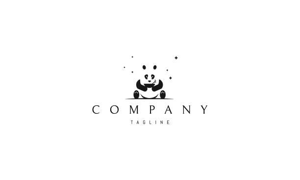 illustrations, cliparts, dessins animés et icônes de logo de vecteur sur lequel une image abstraite d'un panda assis avec un bol dans ses mains. - panda
