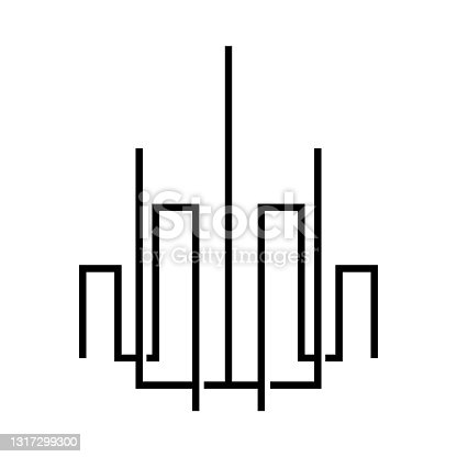 istock Vector logo on which an abstract image of a skyscraper in a linear style. 1317299300