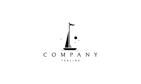 Vector logo on which an abstract image of a yacht at sea.