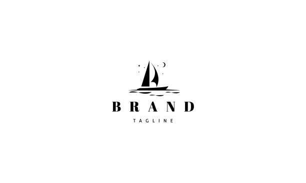 illustrations, cliparts, dessins animés et icônes de logo de vecteur sur lequel une image abstraite d'un yacht. - bateau à voile