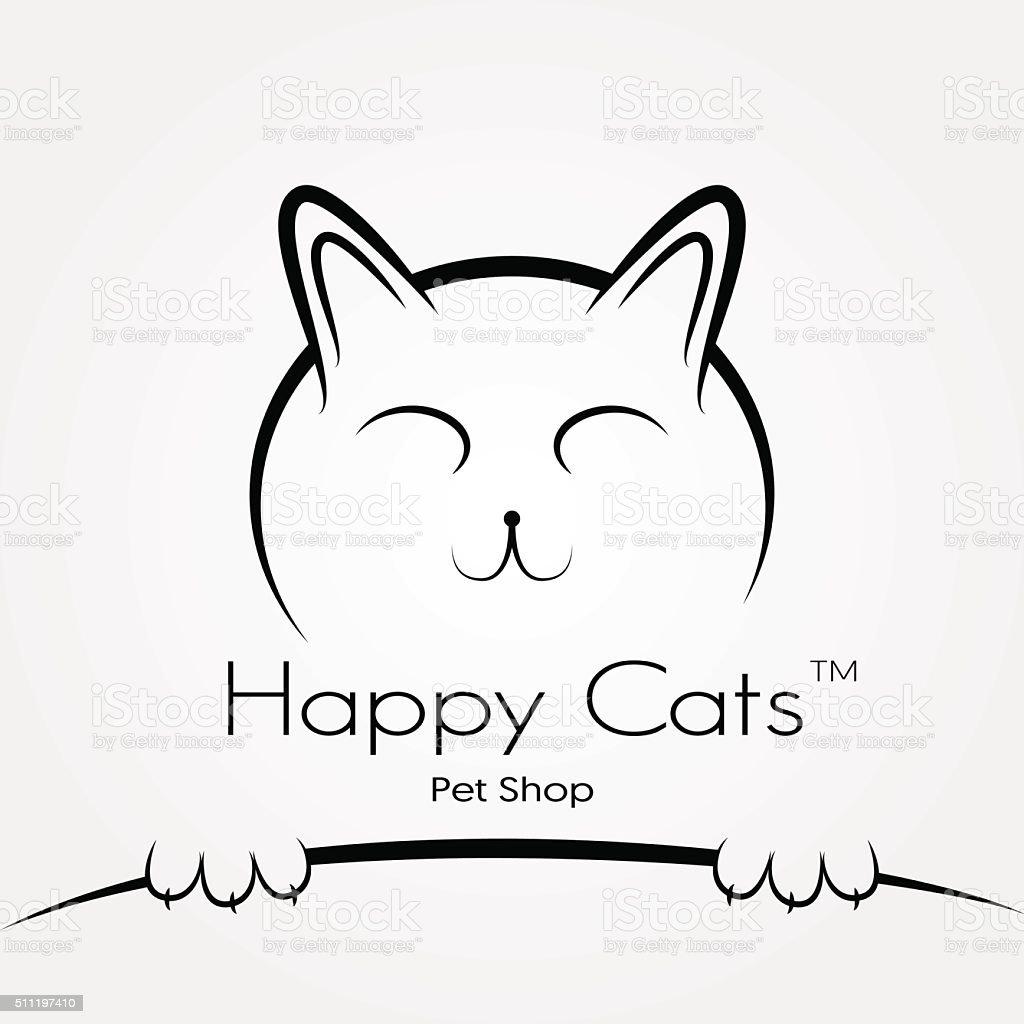 ベクトルのロゴやサインペットショップハッピー猫 アイコンのベクター