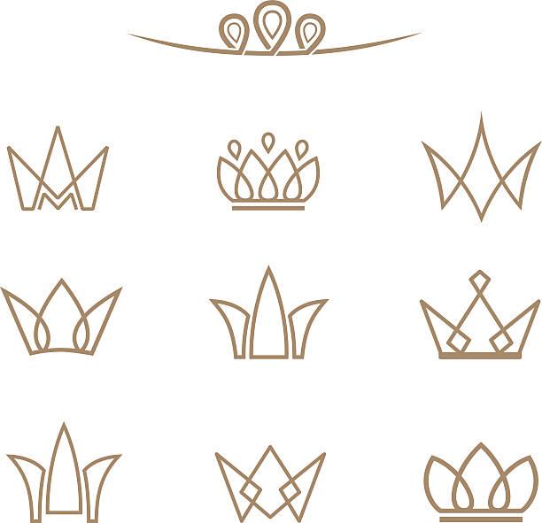 illustrations, cliparts, dessins animés et icônes de logo vector ensemble. couronne en ligne. - diademe