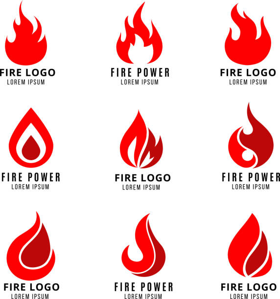 vektor-logo mit feuer-symbole - feuer stock-grafiken, -clipart, -cartoons und -symbole