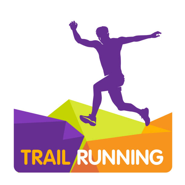 bildbanksillustrationer, clip art samt tecknat material och ikoner med vektor logotypen silhuetten av en löpare som kör framåt dynamics power trail marathon bergen hoppa uthållighet natur energi - jogging hill