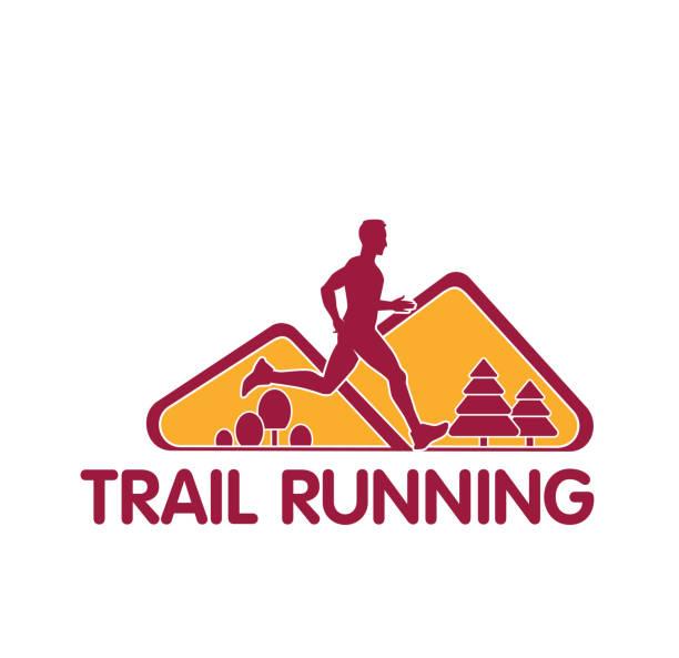 bildbanksillustrationer, clip art samt tecknat material och ikoner med vektor logotypen siluett löpare trail marathon - jogging hill