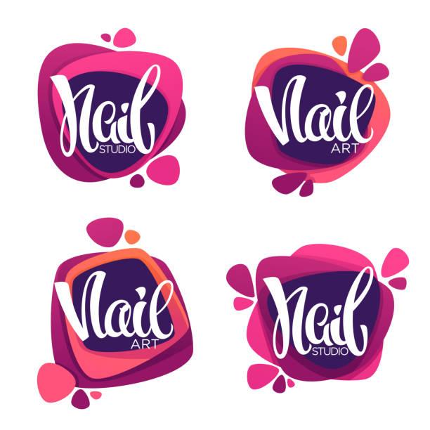 vektor-logo-vorlage für ihr nagelstudio und maniküre-salon mit schriftzug zusammensetzung - fußpflegeprodukte stock-grafiken, -clipart, -cartoons und -symbole