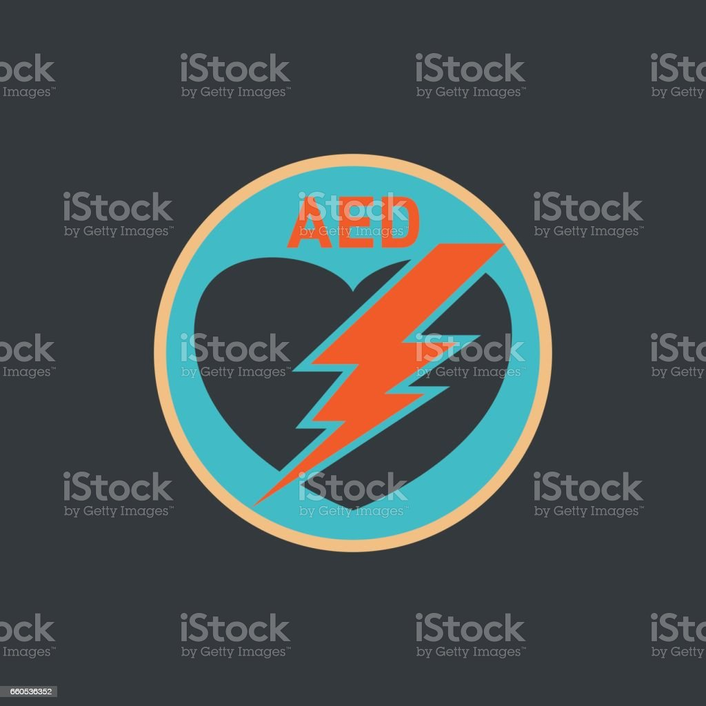 AED (Automated External Defibrillator) vector logo vector art illustration