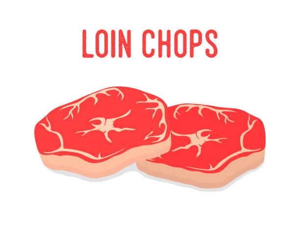 bildbanksillustrationer, clip art samt tecknat material och ikoner med vektor filé kotletter, rött färskt kött. gårds fläsk - loin