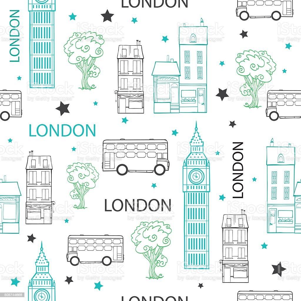 Vektor London Straßen Zeichnung Nahtlose Muster Mit Häusern Und ...