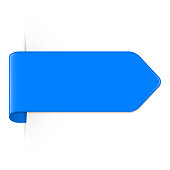 Vector long curved blue bookmark arrow with shadow and copy space. Vector EPS 10