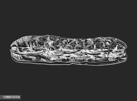 istock Vector Long Sandwich Sketch, Chalk Drawing Illustration, Food, Black and White Art. 1289013704