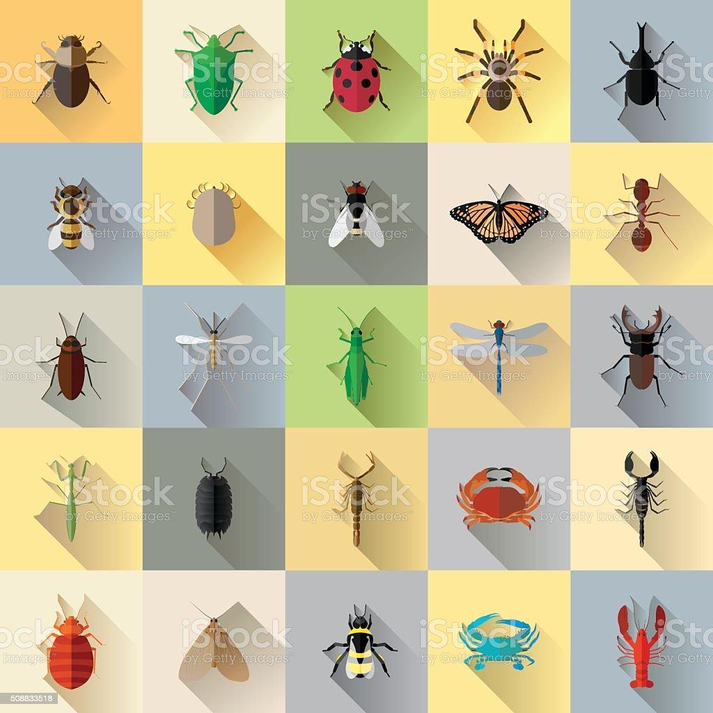 Vector Long Shadow 25 Bug Insect Set vector art illustration