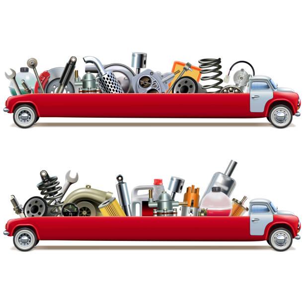 Vector Long Truck mit Auto-Ersatzteilen – Vektorgrafik