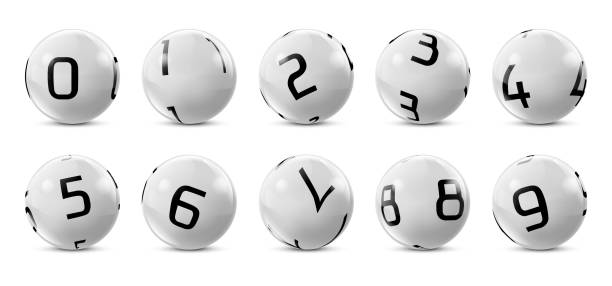 Vector lotto, bingo grey balls with numbers Vector lotto white balls with numbers. Lottery bingo gambling glossy spheres. Snooker, billiard sport game realistic isolated illustration with reflections on white background. bonus march stock illustrations