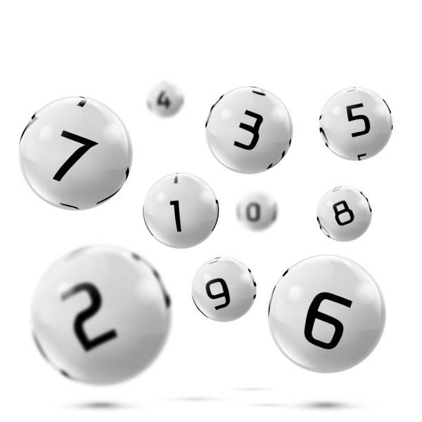 Vector lotto, bingo grey balls with numbers Vector lotto white balls with numbers. Falling lottery bingo gambling spheres. Snooker, billiard sport game realistic isolated illustration with reflections on white background. lottery stock illustrations
