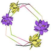 Vector Lotus floral botanical flower. Wild spring leaf wildflower isolated. Black and white engraved ink art. Frame border ornament square.