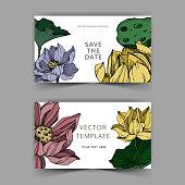 Vector Lotus floral botanical flowers. Black and white engraved ink art. Wedding background card decorative border. Thank you, rsvp, invitation elegant card illustration graphic set banner.