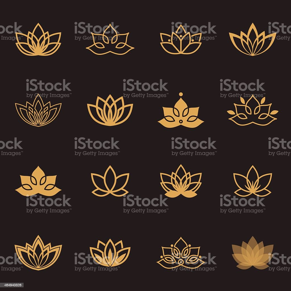 Vector lotus labels for Wellness industry vector art illustration