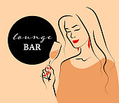 Vector lounge bar concept with hand drawn portrait of young beautiful lady hold wine glass on light background. Hand drawn sketch minimal style. Concept ladies night party, bar, happy cocktail hour.
