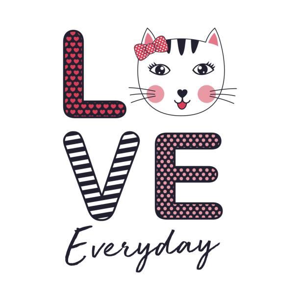 ilustraciones, imágenes clip art, dibujos animados e iconos de stock de vector gato del amor - tipos de letra de historietas