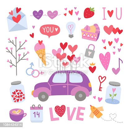 Vector love elements. Cute Saint Valentine's Day illustrations. Heart symbols and wedding icons on white background