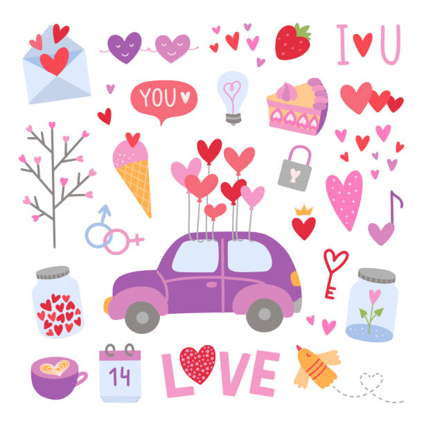 Vector love elements. Cute Saint Valentine's Day illustrations. Heart symbols and wedding icons on white background Vector love elements. Cute Saint Valentine's Day illustrations. Heart symbols and wedding icons on white background car love stock illustrations