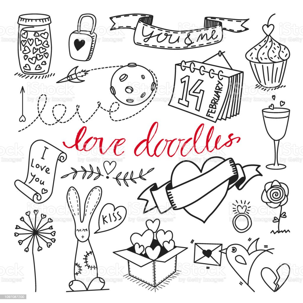 Vector love themed hand drawn doodles and cliparts set illustration