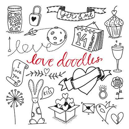 Vector love themed hand drawn doodles and cliparts set