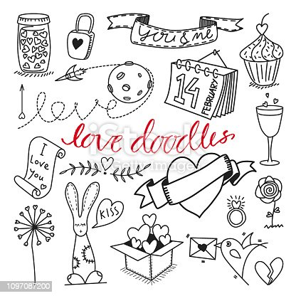 Vector love themed hand drawn doodles and cliparts set. Suitable for stickers, scrapbooking and design element.