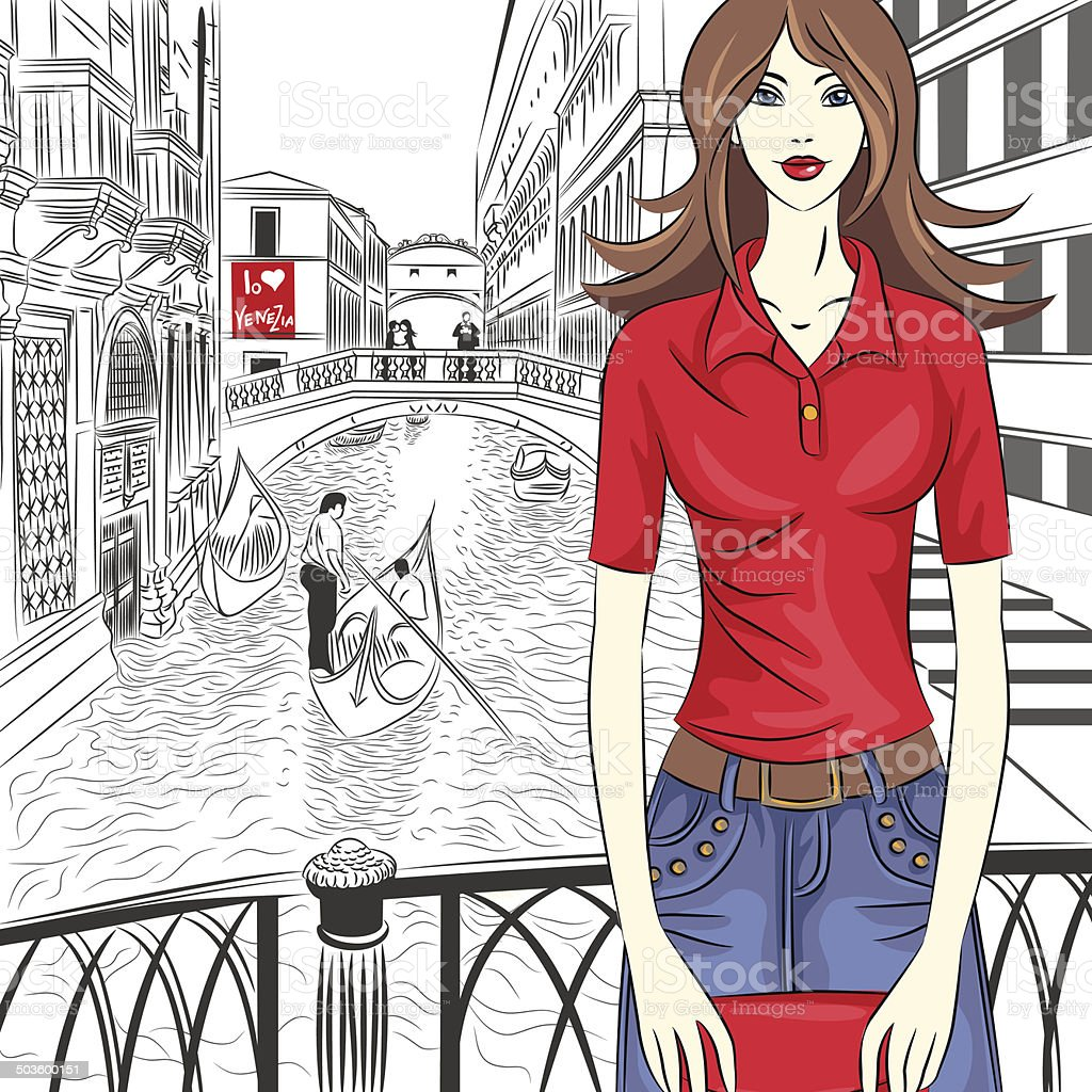 Vector lovely fashion girl on a Venice background vector art illustration