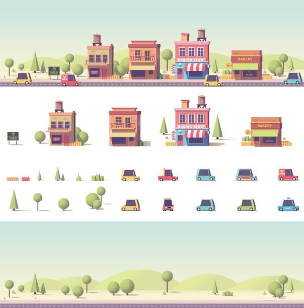 illustrations, cliparts, dessins animés et icônes de vector basse poly 2d bâtiments et lieux de la ville - vitrine magasin