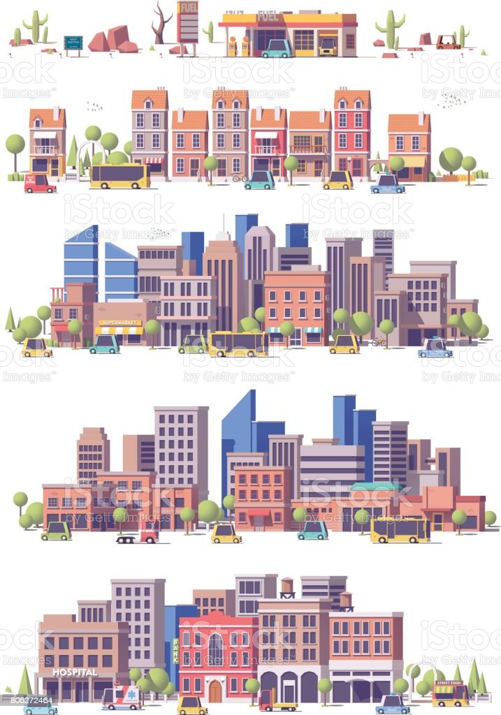 Vector low poly 2d city scenes royalty-free vector low poly 2d city scenes stock illustration - download image now