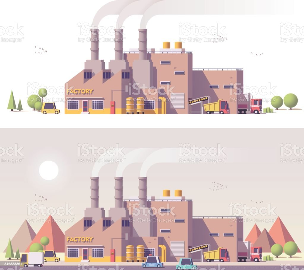 Vector low poly 2d factory vector art illustration