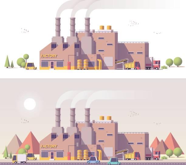 ilustrações, clipart, desenhos animados e ícones de fábrica de 2d vector baixo poli - fábrica