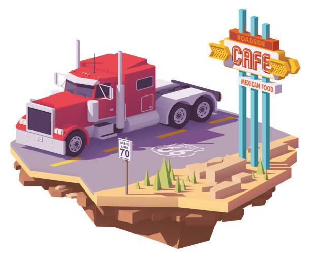 ilustraciones, imágenes clip art, dibujos animados e iconos de stock de vector bajo poli americano clásico camiones - conductor de autobús