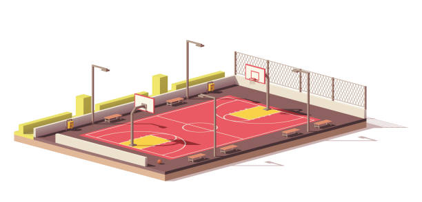 Vector low poly basketball court vector art illustration