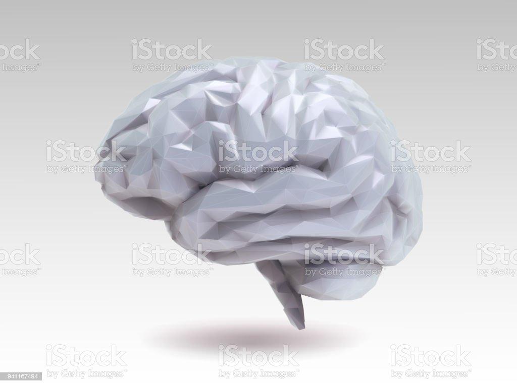 Lowpoly Gehirn Vektorgrafik Im 3dstil Stock Vektor Art und mehr ...