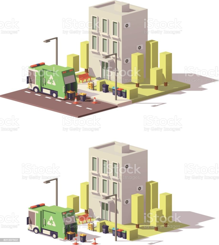 Vector low poly building icon vector art illustration