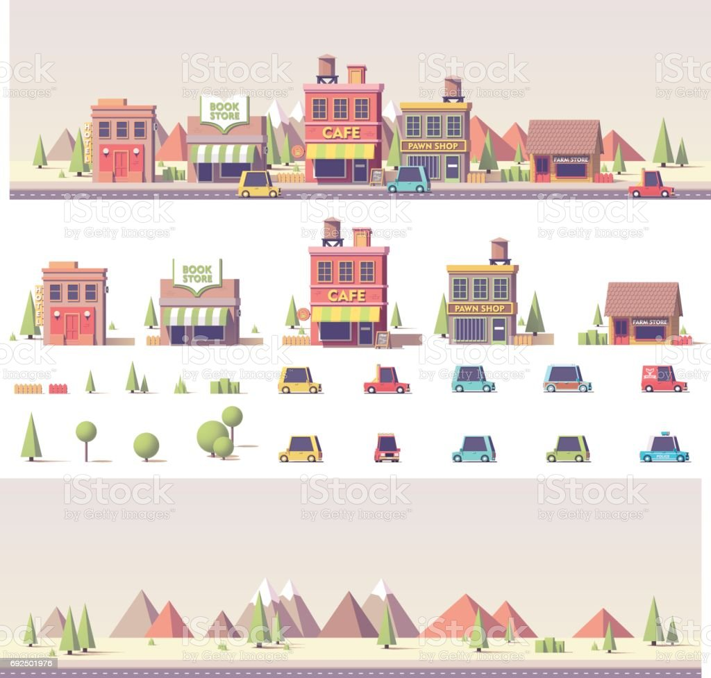 Vector low poly buildings and city scene vector art illustration