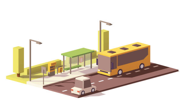 Vector low poly bus and the bus stop vector art illustration