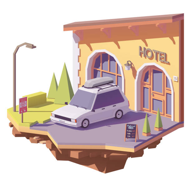 illustrations, cliparts, dessins animés et icônes de hôtel et voiture low poly vector - réception en plein air