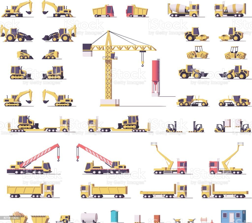 Vector low poly construction machinery vector art illustration