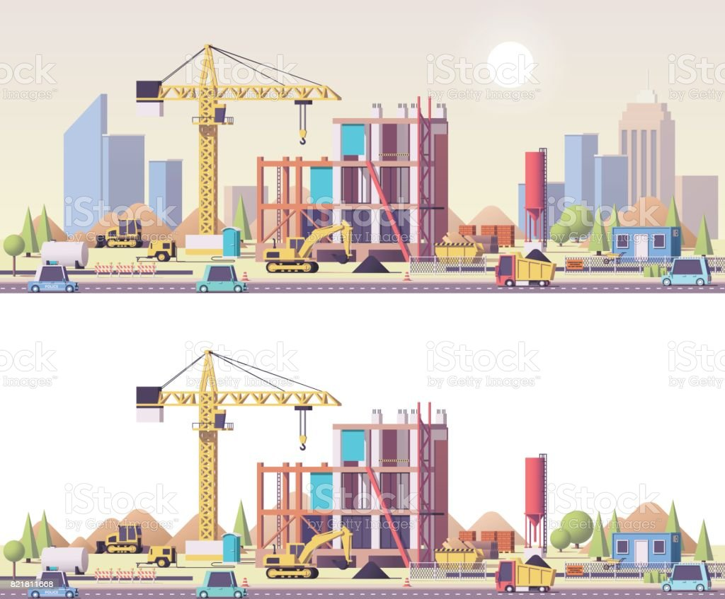 Vector low poly construction site vector art illustration